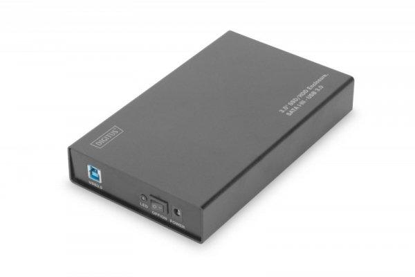 """Obudowa Digitus USB 3.0 na dysk SSD/HDD 3.5"""" SATA III, z zasilaczem, aluminiowa"""