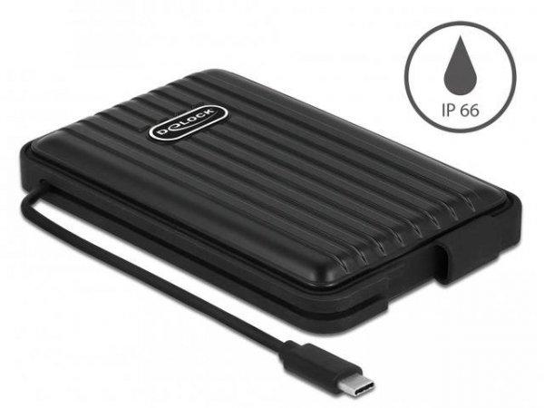 "Obudowa na dysk Delock SATA 2,5"" USB-C 3.1 IP66 czarna"