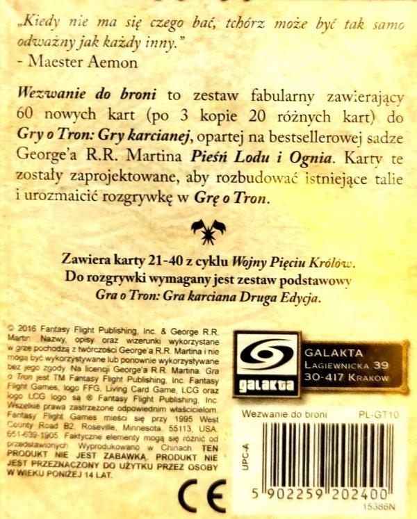 GRA O TRON: GRA KARCIANA 2 ED. CYKL WOJNY PIĘCIU KRÓLÓW – WEZWANIE DO BRONI