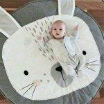 Mata dla dziecka okrągła szara królik 85cm