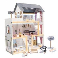 Domek dla lalek drewniany MDF + mebelki 78cm czarny LED