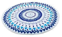 Ręcznik plażowy okrągły duży pled boho niebieski