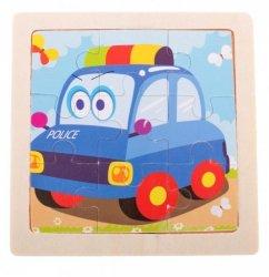 Puzzle drewniane układanka policja 9el. 11x11 cm