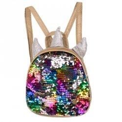 Plecak przedszkolaka cekinowy mini jednorożec tęczowy