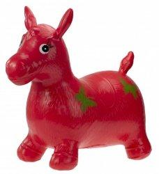 Skoczek gumowy koń z wzorem czerwony