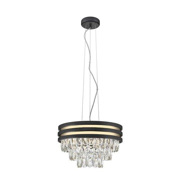 ŻYRANDOL LAMPA WISZĄCA KRYSZTAŁOWA GLAMOUR Z KRYSZTAŁKAMI CZARNO ZŁOTA P0525-04A-P7D7 NAICA LAMPA WISZĄCA ZŁOTA NAICA ZUMA LINE  P0525-04A-P7D7