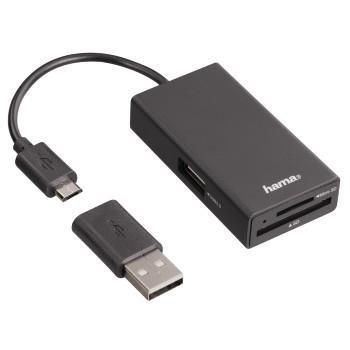 Hub USB Hama USB 2.0 + czytnik kart czarny