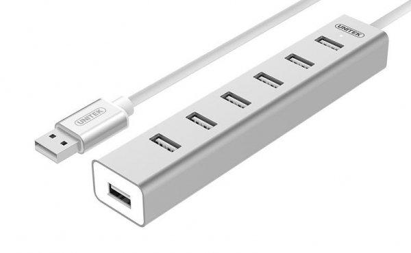 Hub USB Unitek Y-2183 7x USB 2.0 +zasilacz; Y-2183 aluminiowy