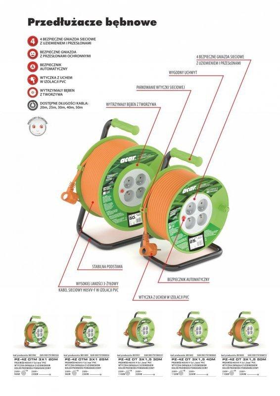 Przedłużacz bębnowy Acar M01950 20m pomarańczowy