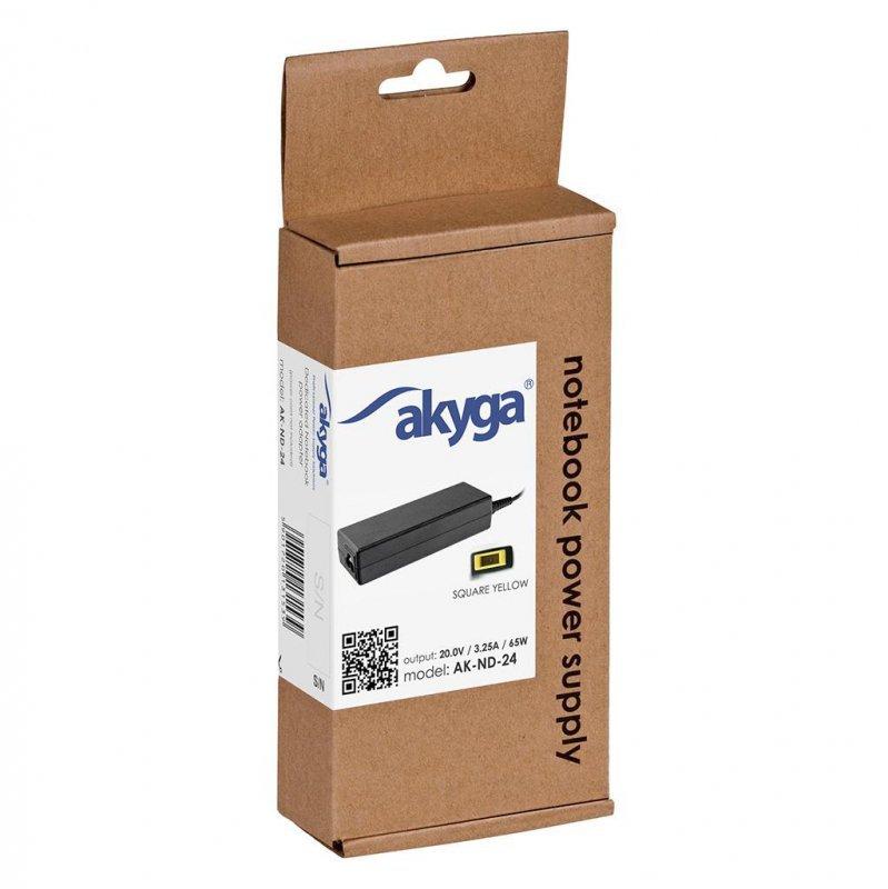 Zasilacz sieciowy Akyga AK-ND-24 do notebooka 20V/3,25A 65W Square yellow