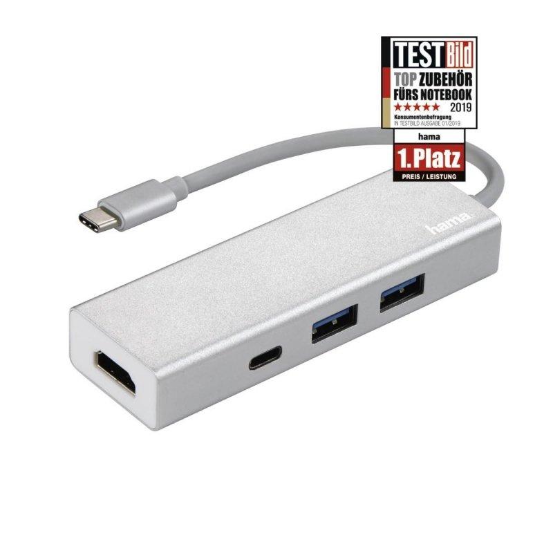 HUB USB 1:3 Hama 3.1 Typ C + HDMI Aluminiowy, srebrny