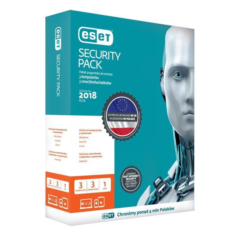 ESET Security Pack dla 3 komputerów i 3 urządzeń mobilnych - przedłużenie licencji, 36 m-cy, upg. BOX