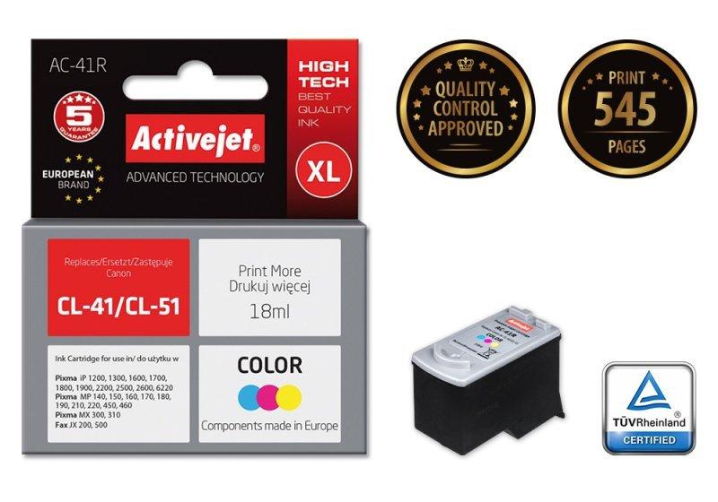 Tusz Activejet AC-41R (zamiennik Canon CL-41; Premium; 18 ml; kolor)