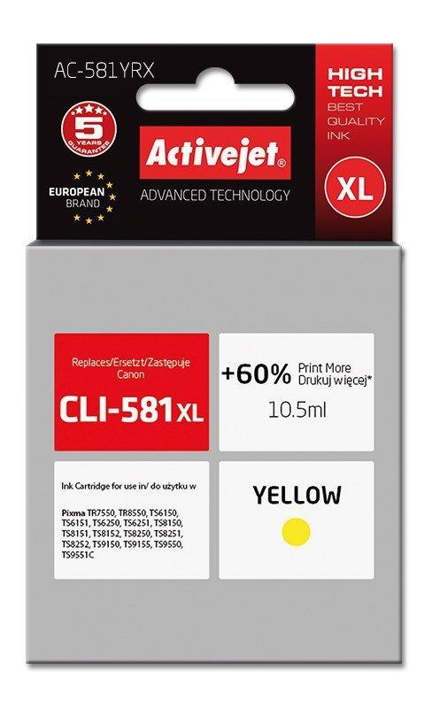 Tusz Activejet AC-581YRX (zamiennik Canon CLI-581XL; Premium; 10.5 ml; żółty)