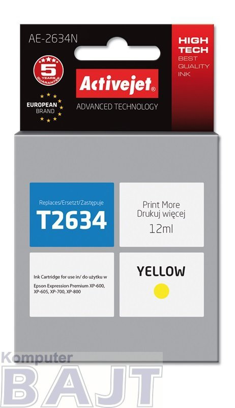 Tusz Activejet AE-2634N (zamiennik Epson 26 T2634; Supreme; 12 ml; żółty)