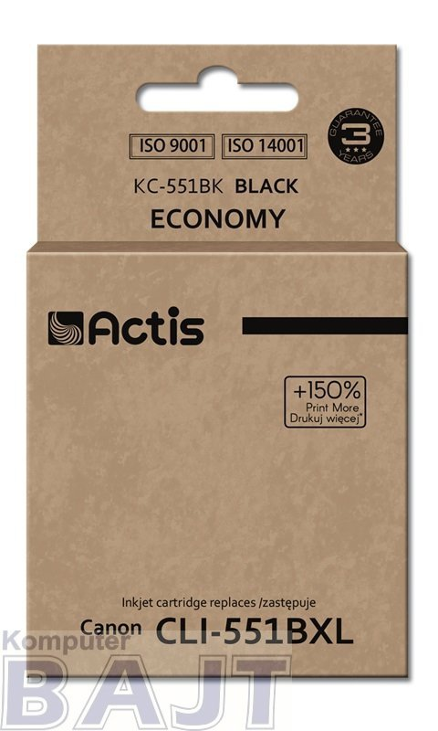 Tusz ACTIS KC-551Bk (zamiennik Canon CLI-551BK; Standard; 12 ml; czarny)