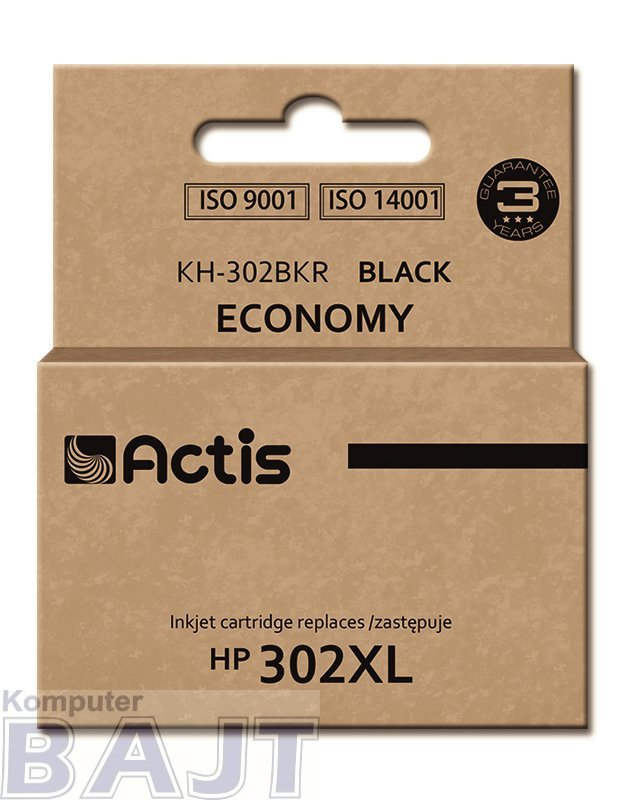 Tusz ACTIS KH-302BKR (zamiennik HP 302XL F6U68AE; Premium; 15 ml; czarny)