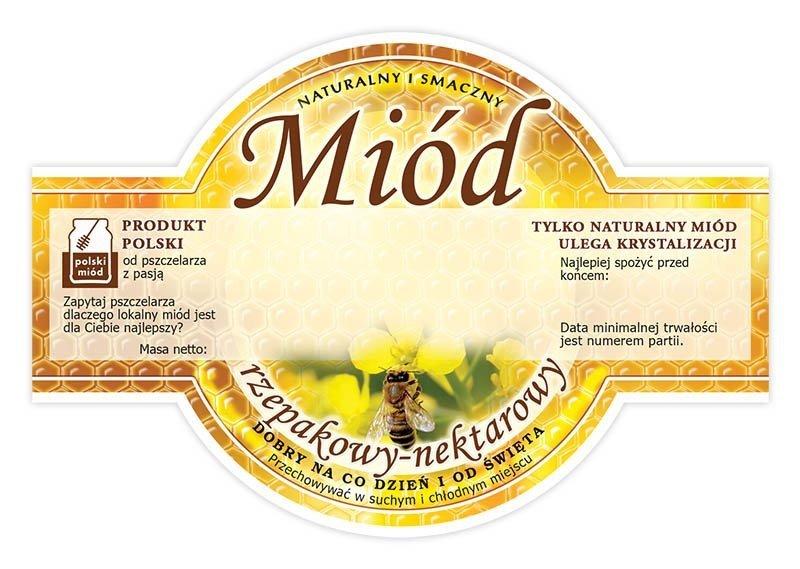 Paczka etykiet okrągłych na miód rzepakowy (100szt)
