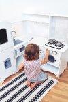 Drewniana narożna kuchnia XXXL z lodówką, piekarnikiem, pralką, fartuszkiem  i akcesoriami