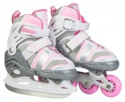 Rolki i łyżwy dla dzieci 2w1 - kolor różowy - roz. M (35-38)