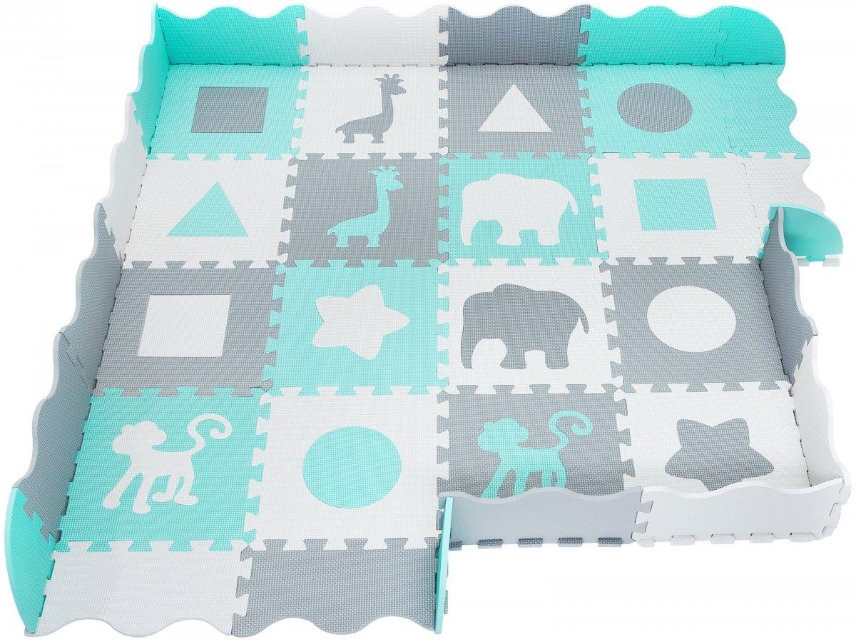 Mata puzzle XL 150 x 150 x 1 cm - z obrzeżem - pianka EVA - zielona