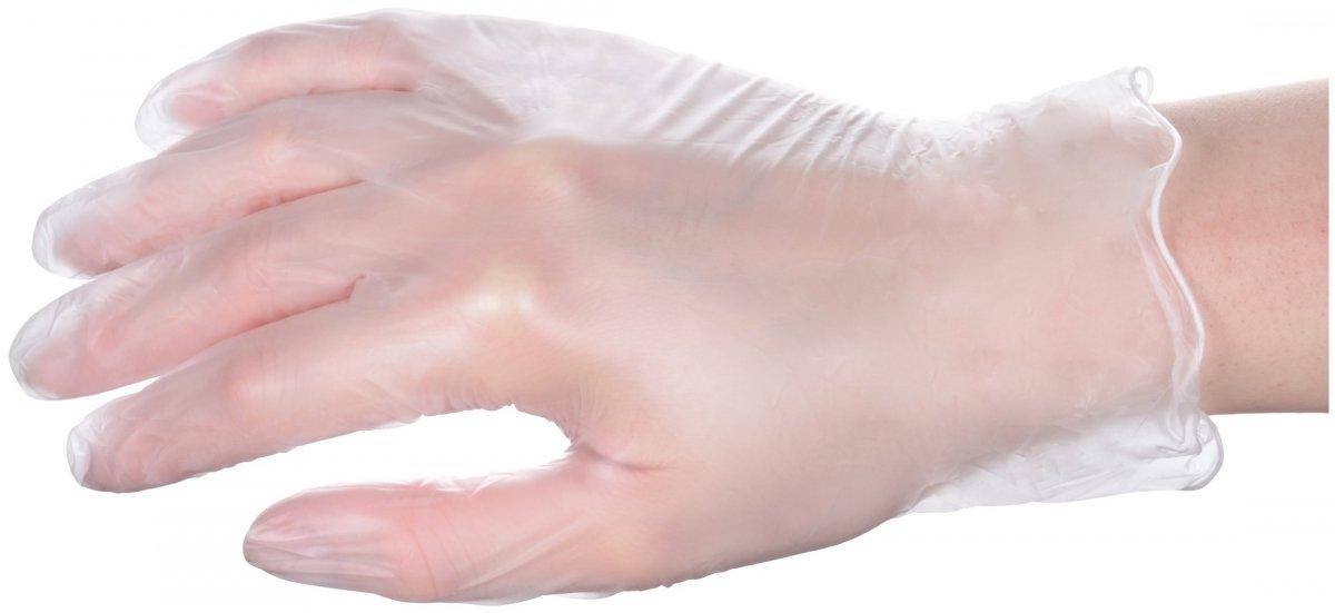 Rękawice winylowe medyczne diagnostyczno-ochronne - bezpudrowe - 100 sztuk - rozmiar L