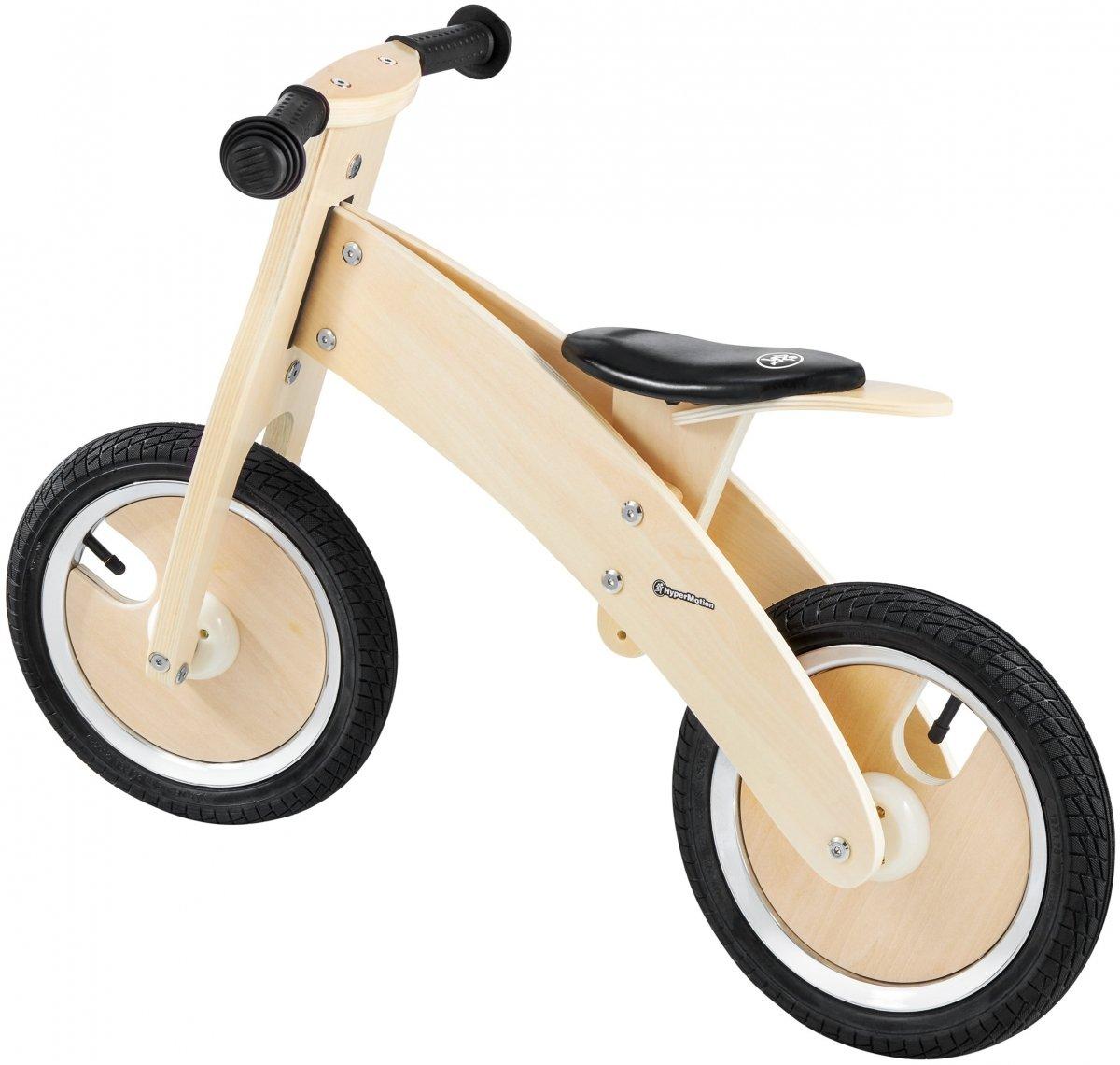 Rowerek biegowy drewniany HyperMotion JAMES - pompowane koła - naturalny