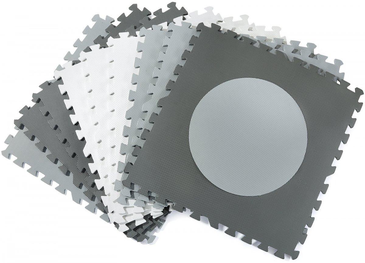 Mata puzzle XXL 190 x 190 x 1 cm - z obrzeżem - pianka EVA - szara