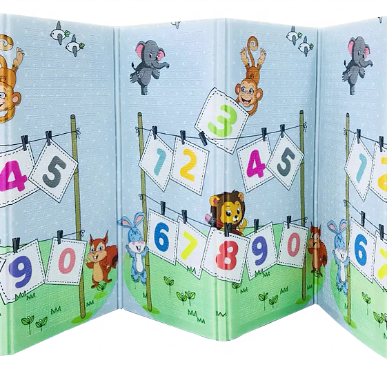 Dwustronna mata piankowa XXL (200x180cm) - składana 1 CM (koniki i alfabet)