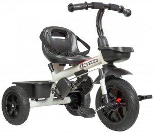 Rowerek trójkołowy TOBI VECTOR - kolor szary - wiecznie pompowane koła + pchacz