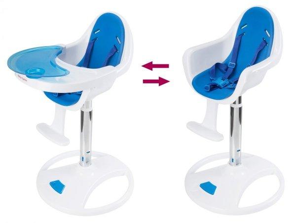 Wysokie obrotowe krzesełko do karmienia FLORA - niebieskie