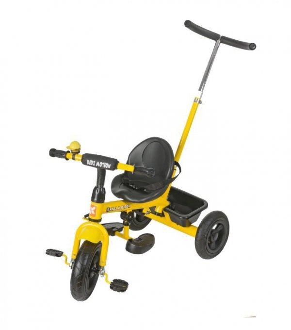 Rowerek Trójkołowy z pchaczem i pompowanymi kołami TOBI BASIC AIR - żółty