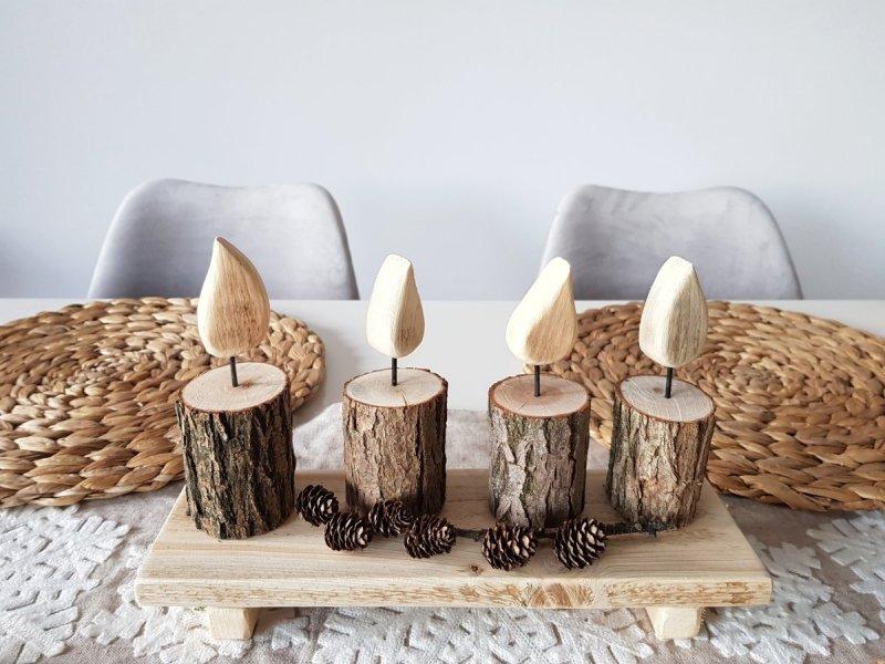 Zestaw 4 drewnianych świeczników z tacką