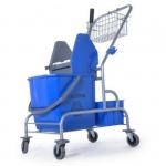 Wózek do sprzątania 1x25 litrów na stelażu z koszyczkiem i pojemnikiem