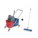 Wózek do sprzątania 2x25L chromowany z kompletem mopa