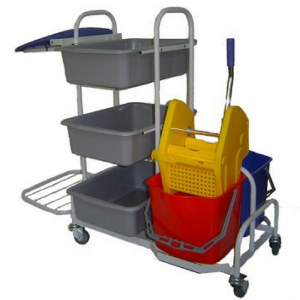 Wózek serwisowy do sprzątania  z kuwetami i uchwytem na worek ZS05 (3+2)
