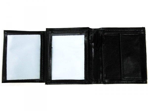 2412 PORTFEL MĘSKI SKÓROPODOBNY PIONOWY Czarny 12,5x10