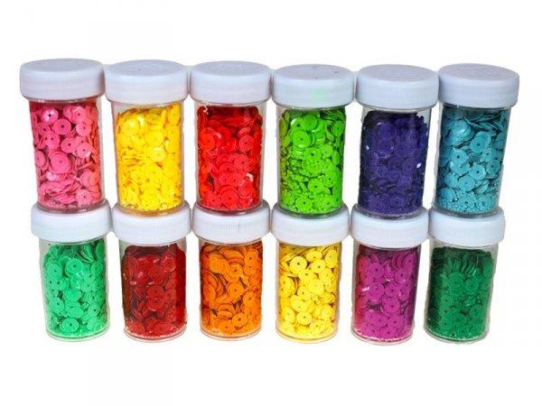 4470 CEKINY ŁAMANE WIELOKOLOROWE 6 mm 12 Kolorów 24 SZT