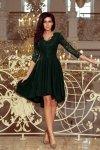 210-3 NICOLLE - sukienka z dłuższym tyłem z koronkowym dekoltem - CIEMNA ZIELEŃ