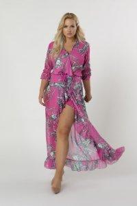 tiulowa sukienka maxi z kopertowym dekoltem, wiązaniem w pasie i falbanami