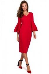 K002 Sukienka z falbanami przy rękawach - czerwona