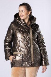 pikowana kurtka z kapturem i asymetrycznym zapięciem