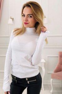 bawełniana bluzka z falbaną na biuście