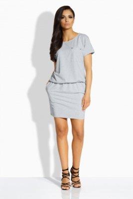 L201 sukienka z kieszonką jasnoszary