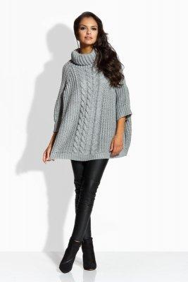 LS193 sweterek a'la ponczo jasnoszary