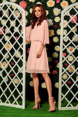 Szyfonowa sukienka z narzutką L261 pudrowy róż