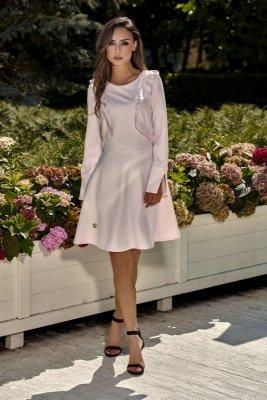 Klasyczna sukienka z długim rękawem L271 pudrowy róż