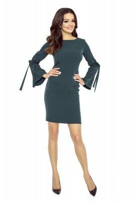 Ołówkowa sukienka z wiązaniami na rękawach
