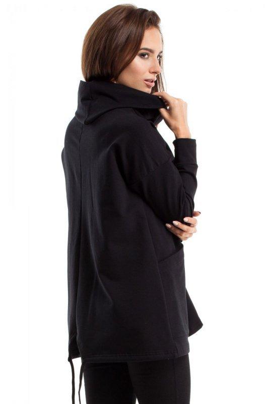 MOE260 Bluza oversize z kominem i kieszenią czarna