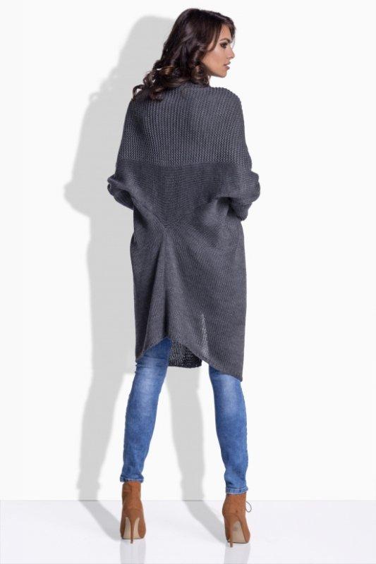 LS174 sweter z fantazyjnym tyłem grafit